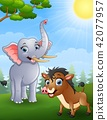 illustration of Elephant and wild boar cartoon in  42077957