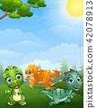 illustration of Dinosaurs cartoon in the jungle 42078913