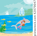 Little girl diving with a dolphin 42079047