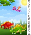 illustration of Dinosaurs cartoon in the jungle 42079700
