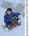 雪橇 孩子 兒童的 42079874