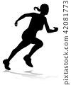 runner, silhouette, track 42081773