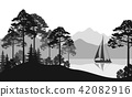 Landscape with Ship on Lake 42082916