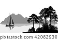 Landscape with Ship on Lake 42082930