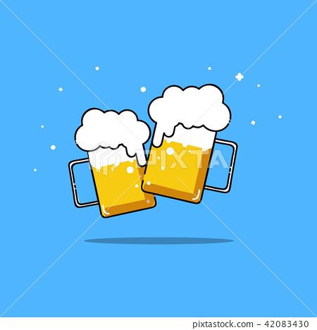Beers isolated vector illustration party two frien 42083430