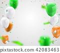 Green Orange balloons, confetti concept design Ind 42083463