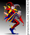 Three Dimensional grimacing and smiling Joker  42083824