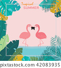 Summer Pink pastel flamingos stand in water and to 42083935