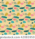 Summer Pink pastel flamingo and topical exotic lea 42083950