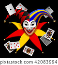 Joker head with playing cards isolated on black 42083994