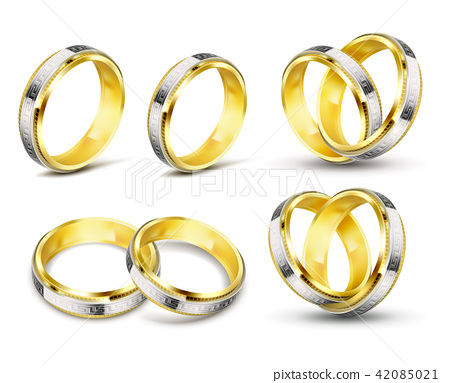 Set of realistic illustrations of gold wedding rings with engraving 42085021