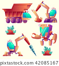 Vector cartoon mining machinery for other planets 42085167