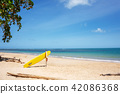 Surfboard On Tropical Beach In Summer 42086368