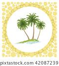 Sea Island with Palm Trees 42087239
