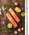 三文鱼 鲑鱼 柠檬 42087303