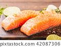 三文鱼 鲑鱼 柠檬 42087306