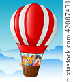 Happy kids flying in a hot air balloon 42087431