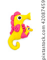 Play dough sea horse on white background 42087459