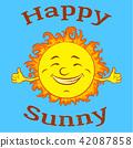 Cartoon Happy Sun 42087858