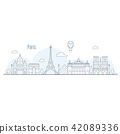 Paris city skyline - cityscape with landmarks 42089336