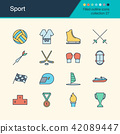 Sport icons. Filled outline design collection 27. 42089447
