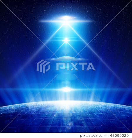 Abstract sci-fi background - ufo with spotlights 42090020