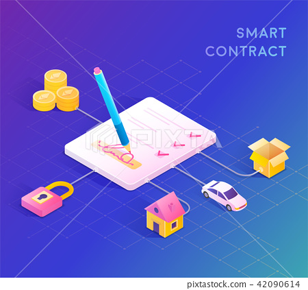 Smart contract concept illustration 42090614