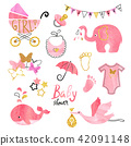 Watercolor Baby Shower girl set. 42091148