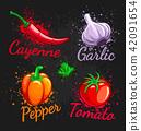 Set of fresh vegetables cherry tomato pepper 42091654