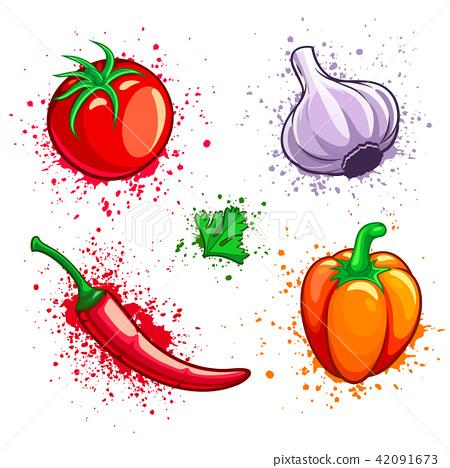 Set of fresh vegetables cherry tomato pepper 42091673