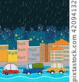 city, flood, vector 42094132