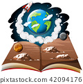 Galaxy with earth and rocket ship on a book 42094176