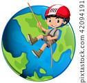 A Boy Rope Climbing on Earth 42094191