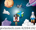 Scene of rocket ships in space 42094192