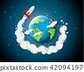 rocket ship flying around earth 42094197