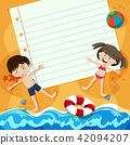 Paper Note and Children at Beach 42094207