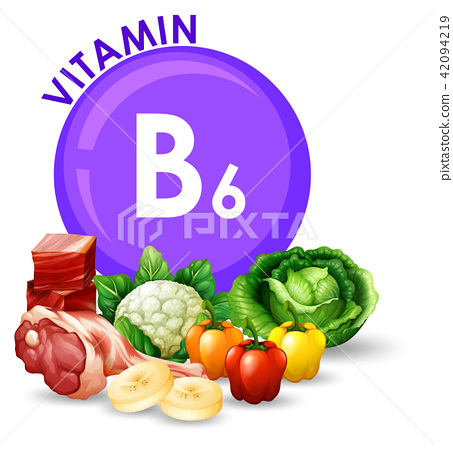 Variety of different foods with Vitamin B6 42094219