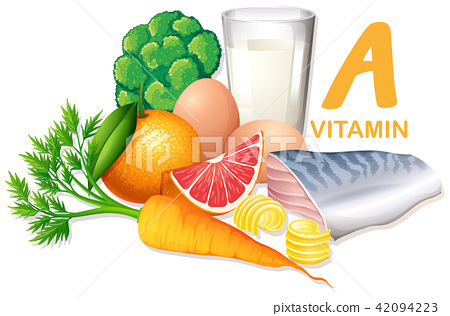 Variety of foods containing vitamin A 42094223