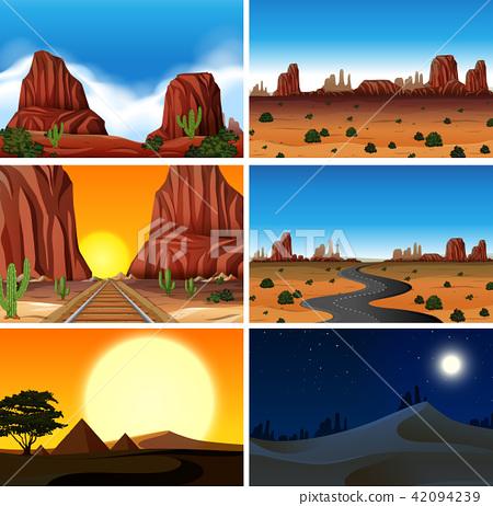 Set of diferent desert scenes 42094239