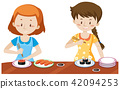 Girls Eating Japanese Sushi 42094253