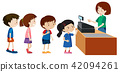 Children buying from a cashier 42094261
