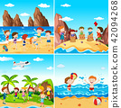 A Set of Children at the Beach 42094268