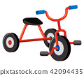 A Red Tricycle on White Background 42094435