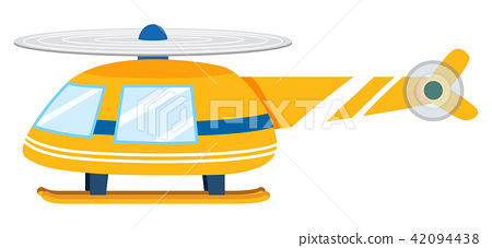 A Yellow Helicopter on White Background 42094438