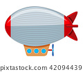 A large grey and red blimp 42094439