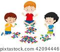 Boys Playing Lego on White Background 42094446