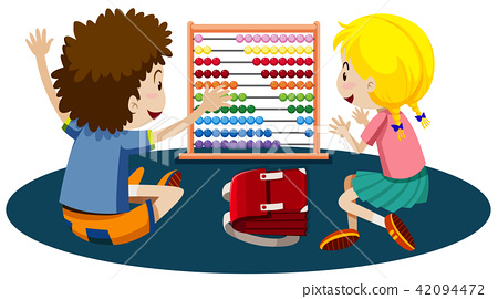 Young children playing with an abacus 42094472
