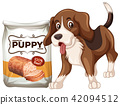 A Dog and Food on White Background 42094512