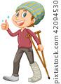 A Young Man with Leg Splint 42094530