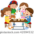 Group of children eating together 42094532